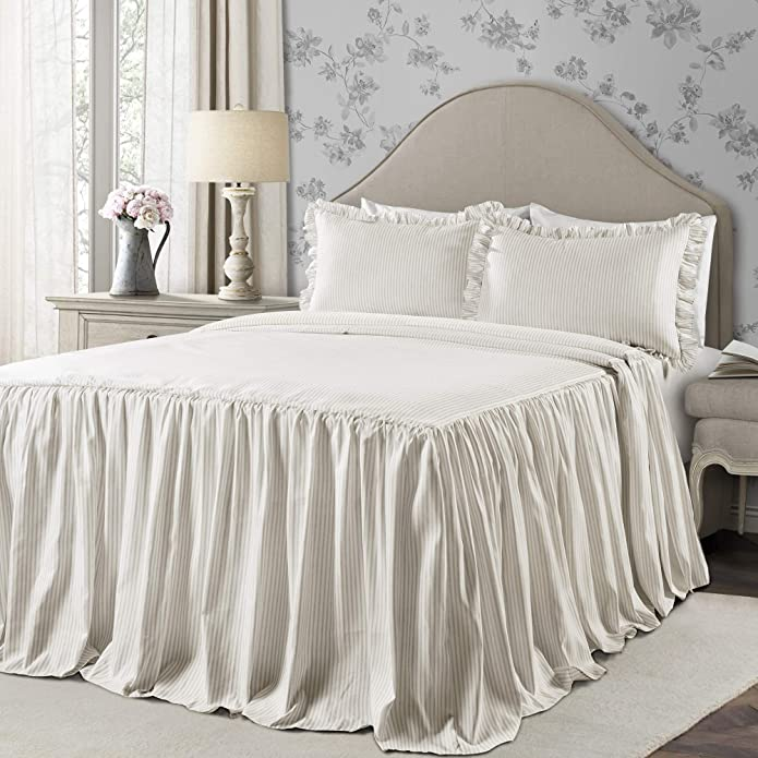 Twin 2pc Ticking Stripe Bedspread Set Neutral - Lush Décor
