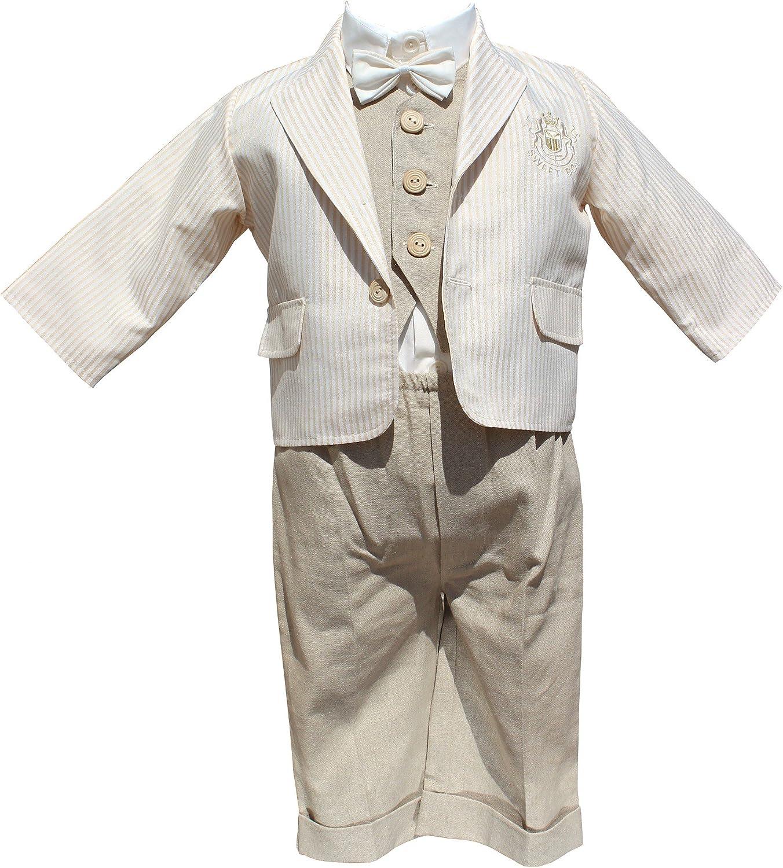 Abito da battesimo elegante in lino vestito da cerimonia color panna-beige.