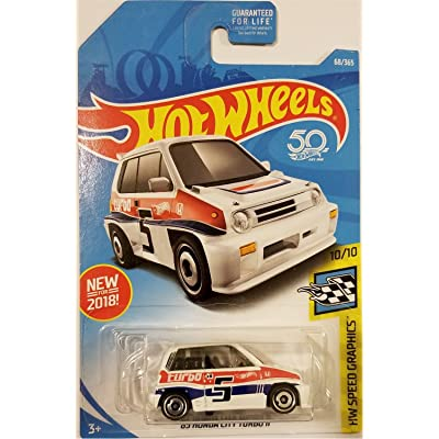 Hot Wheels 2020 50th Anniversary HW Speed Graphics Honda City Turbo II 68/365, White: Toys & Games