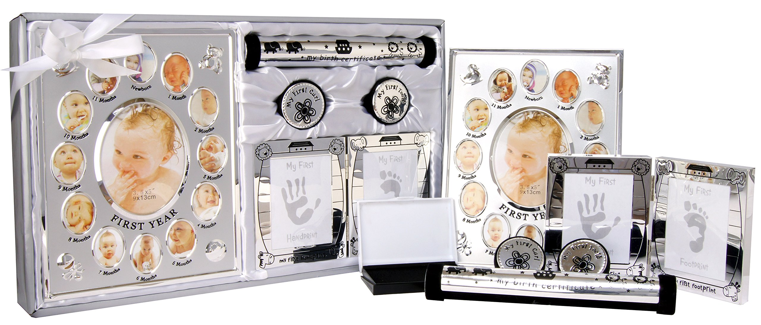 New 5 Piece Baby Keepsake Gift Set Suitable for Unisex, Boy, Girl, First Photo Frame, Curl and Tooth Box, Handprint Footprint Prints Kit. Available in Pink, Blue and Silver. (Shiny Silver) by BabyRice