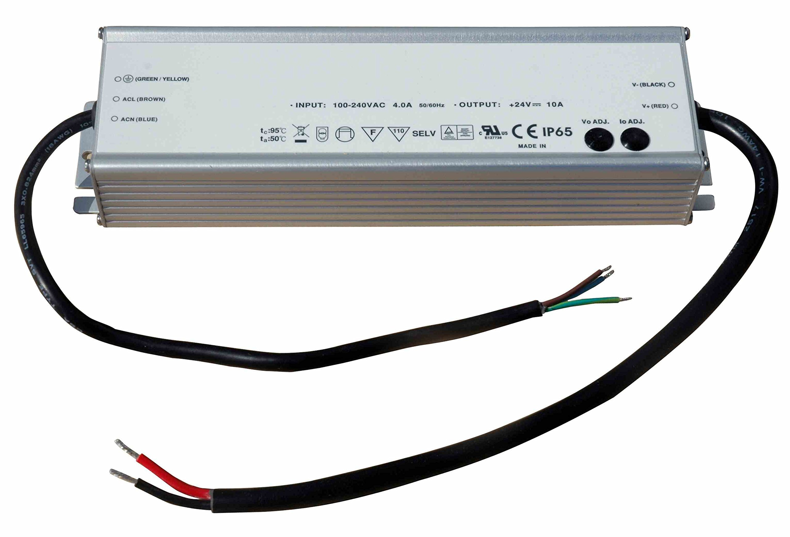 Larson Electronics Waterproof Transformer Converts 120-277V AC To 12 Volts DC, 16 Amps Max, IP67, Pigtail Input/Output