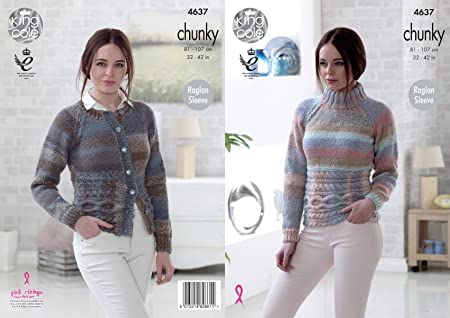 25b4b1a290093a Image Unavailable. Image not available for. Colour  King Cole 4637 Knitting  Pattern Womens Raglan Sweater and Cardigan in King Cole Cotswold Chunky