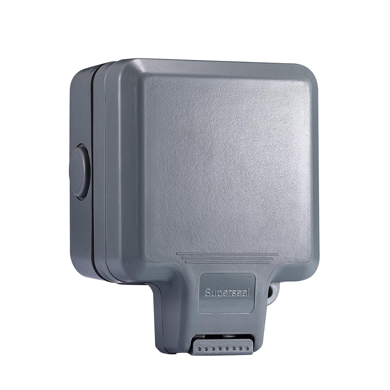 Veryredtek Weatherproof Socket, Single Outdoor Socket 13A IP66 Rated