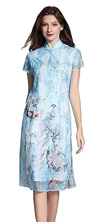 07a0a1463 Shineflow Women's Vintage Short Sleeve Lotus Flowers Painting Print Qipao  Cheongsam Midi Cocktail Dress (Blue