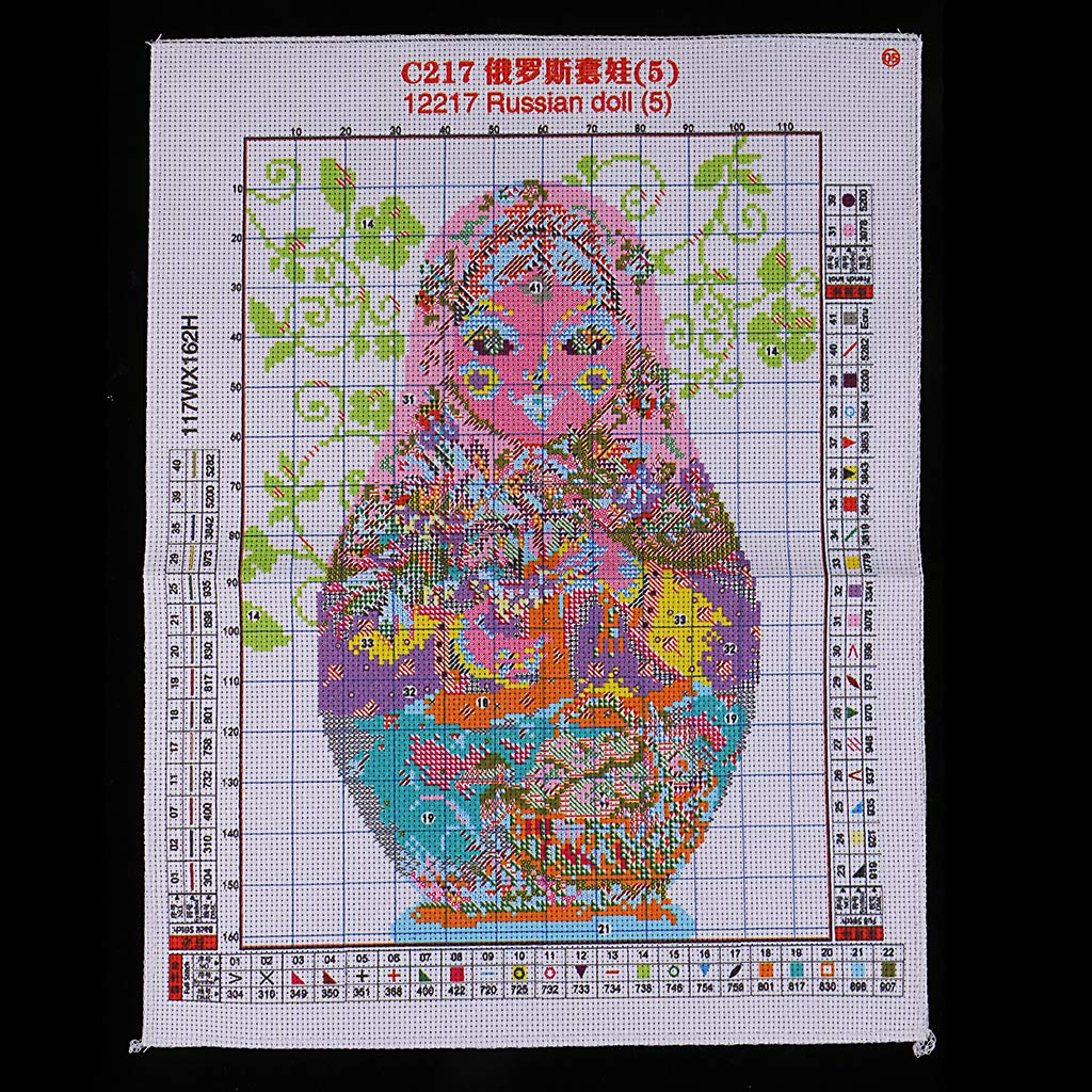 for Embroidery Art Cross-Stitching Lover SM SunniMix Stamped Cross Stitch Kits with Printed Pattern Russian Doll 11CT 36x47cm