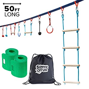 Sunny & Fun Portable 50 Foot Ninja Slackline Monkey Bar & Ladder Kit – Kids Gym Swinging Obstacle Course Set - Warrior Training Bars, Fists, Gymnastics Rings - Carry Bag & Tree Protectors