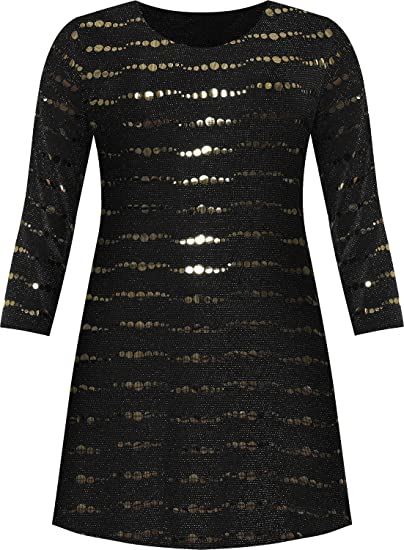 271a07d7a345 WearAll Women's Plus Long Sleeve Lurex Sparkle Sequin Flared Swing Dress -  Gold - US 10 (UK 14) at Amazon Women's Clothing store: