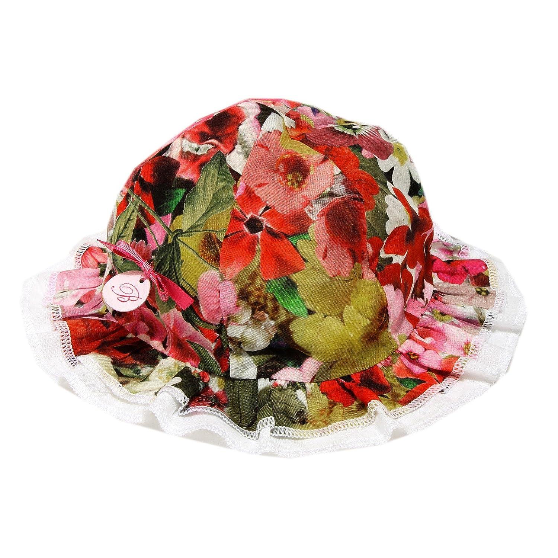 7738G cappellino bimba bianco fiori BLUMARINE BABY JEANS cappello cotone hat kid