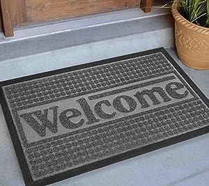 Welcome Mat Outdoor 30x18, Extra Durable Front Door Mat Outdoor, Heavy Duty Door Mats for Outside Entry, Cute Black Outdoor Doormat, Home Entrance Mat, Outdoor Mats for Back Door Waterproof, Gray