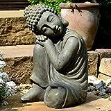 Garden Buddha in class Brass Effect Stone Figurine Sculpture Statue Deco