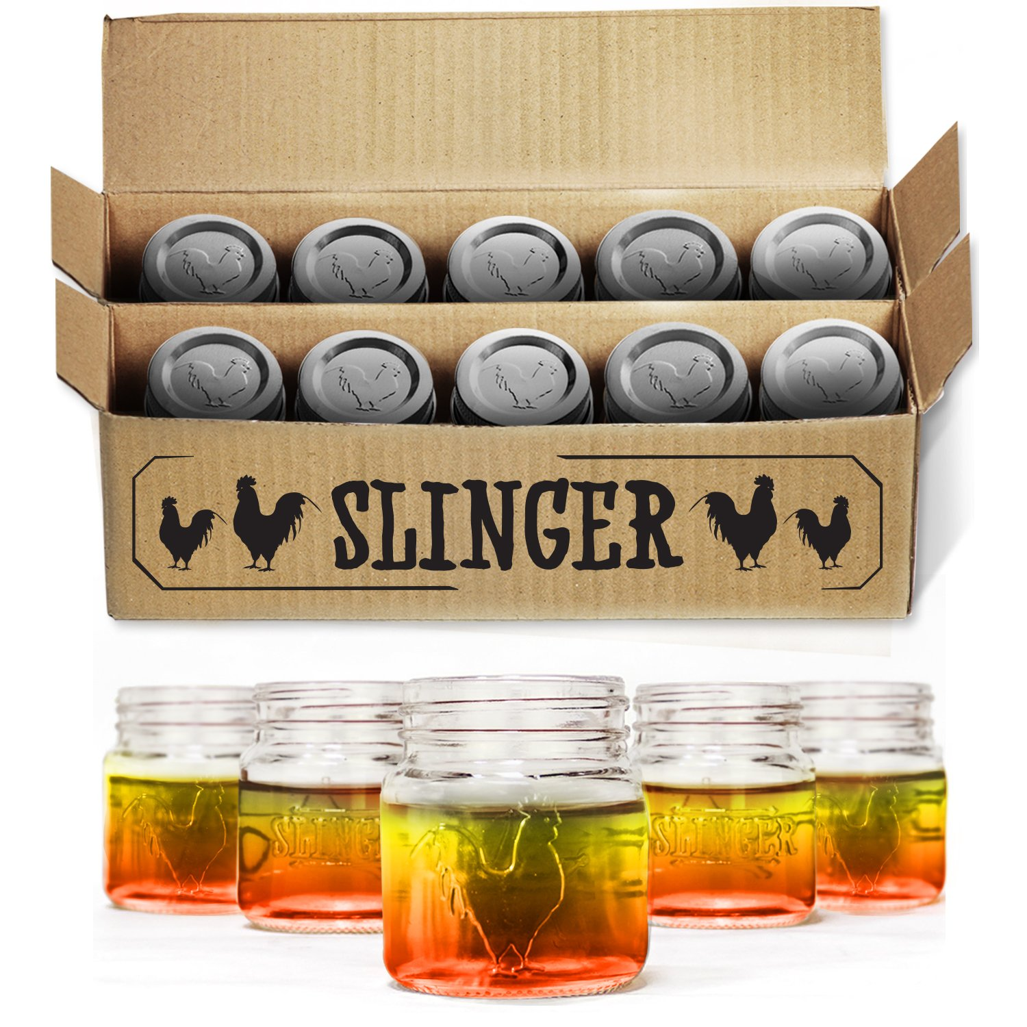 The Rooster Mason Jar Shot Glasses Set - Mini Mason Jars with Lids Featuring Unique Rooster Design (10 Pack) by The Slinger