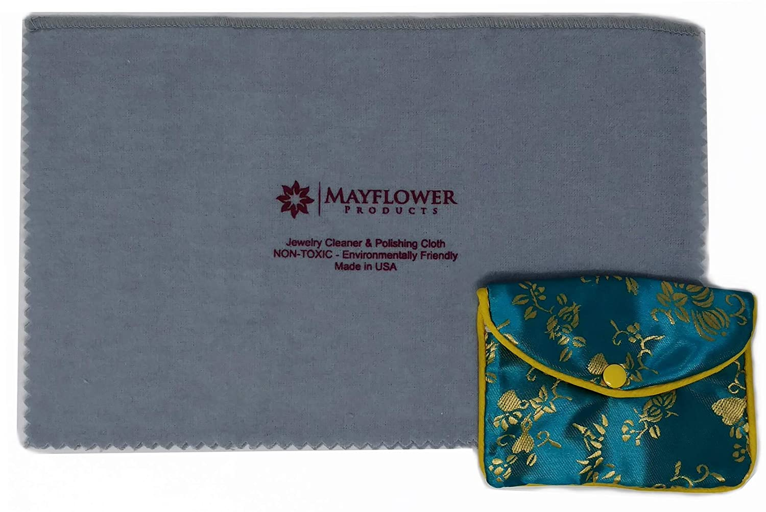 Mayflower Polishing Cloth for Cleaning Silver, Gold and Platinum Jewelry -NON TOXIC- Made In USA- Size 11 X 14-Tarnish Remover-Layer of Protection-Bonus Jewelry Pouch-Keep Jewelry Clean and Shiny Mayflower Products AL079