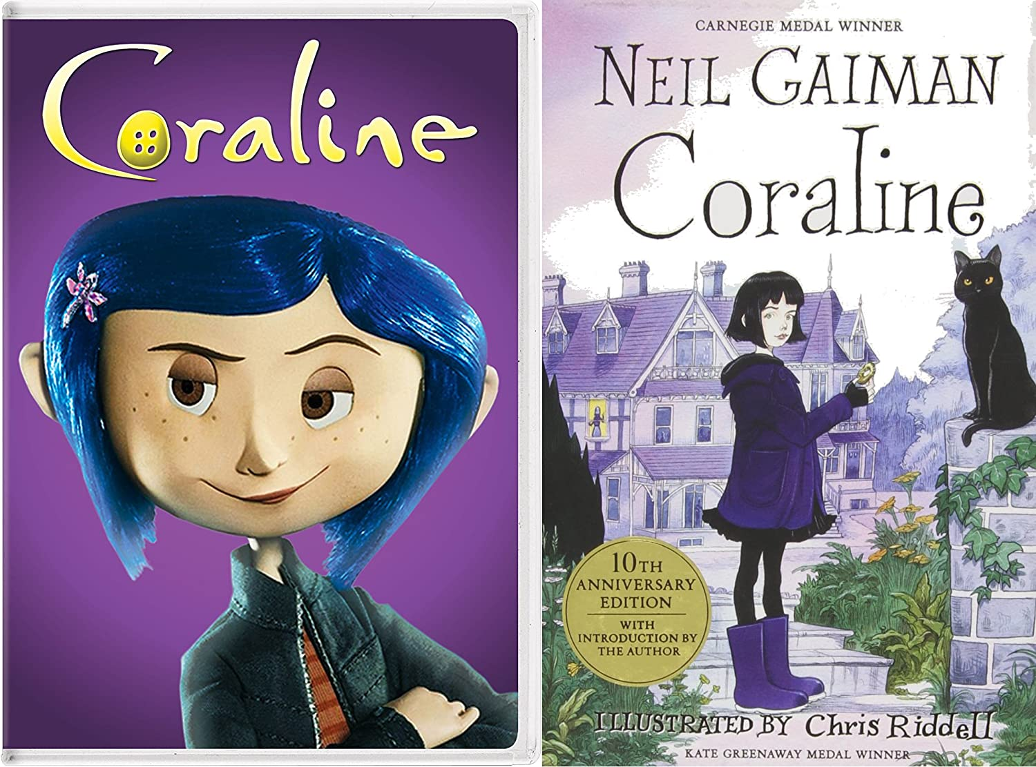 Amazon Com Coraline Movie Book Bundle Coraline Dvd And 10th Anniversary Hardcover Book By Neil Gaiman Dakota Fanning Teri Hatcher Leslie Mann Neil Gaiman Henry Selik Movies Tv