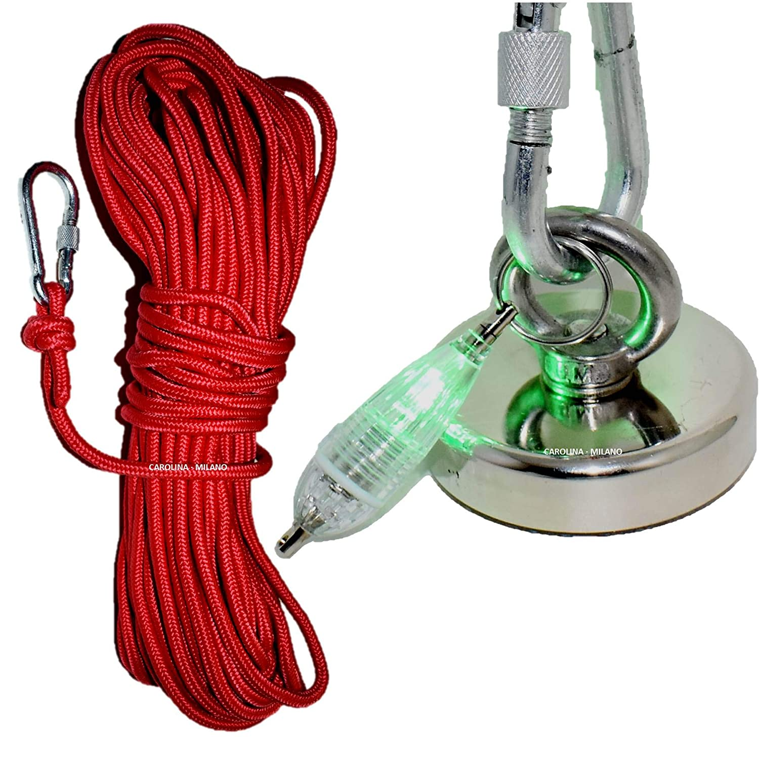 M8 Eyebolt 98ft 8mm Rope /& LED Light Retrieve from Rivers Lakes Canals Single Side Fishing Magnet kit 350 LBS Pulling Force Ultra Strong Rare Earth Neodymium Magnet N52 Magnetic Grade Diameter 2.36