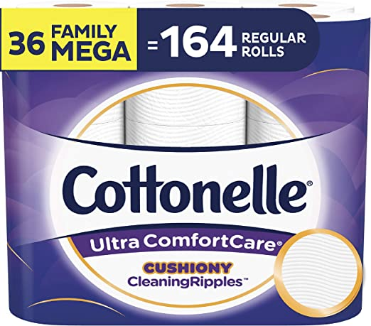 Cottonelle Ultra ComfortCare Toilet Paper with Cushiony CleaningRipples, Soft Biodegradable Bath Tissue, Septic-Safe, 36 Count