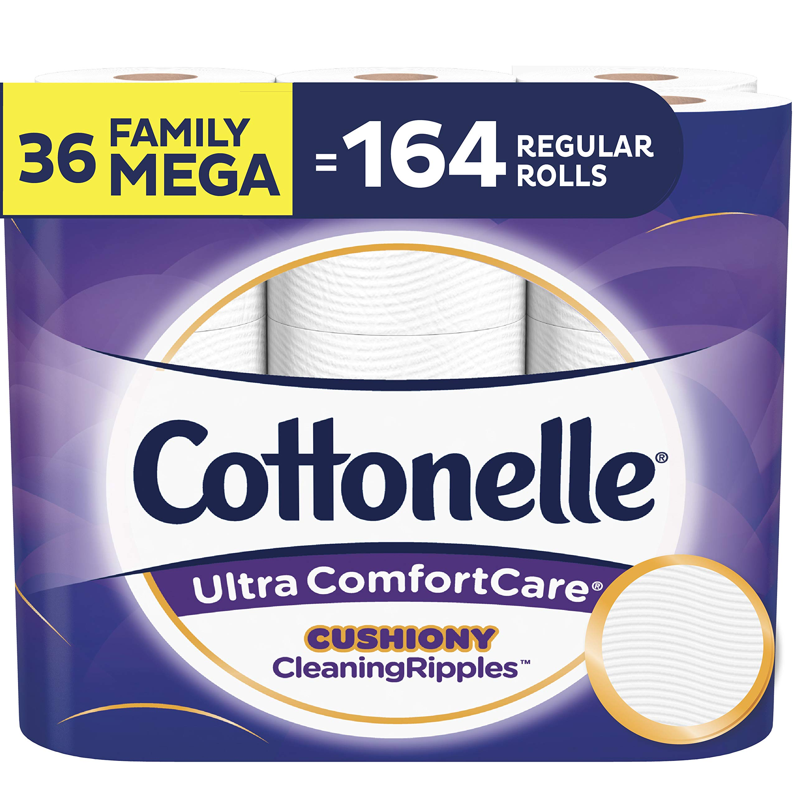 Cottonelle Ultra ComfortCare Toilet Paper with Cushiony CleaningRipples, Soft Biodegradable Bath Tissue, Septic-Safe, 36 Family Mega Rolls by Cottonelle