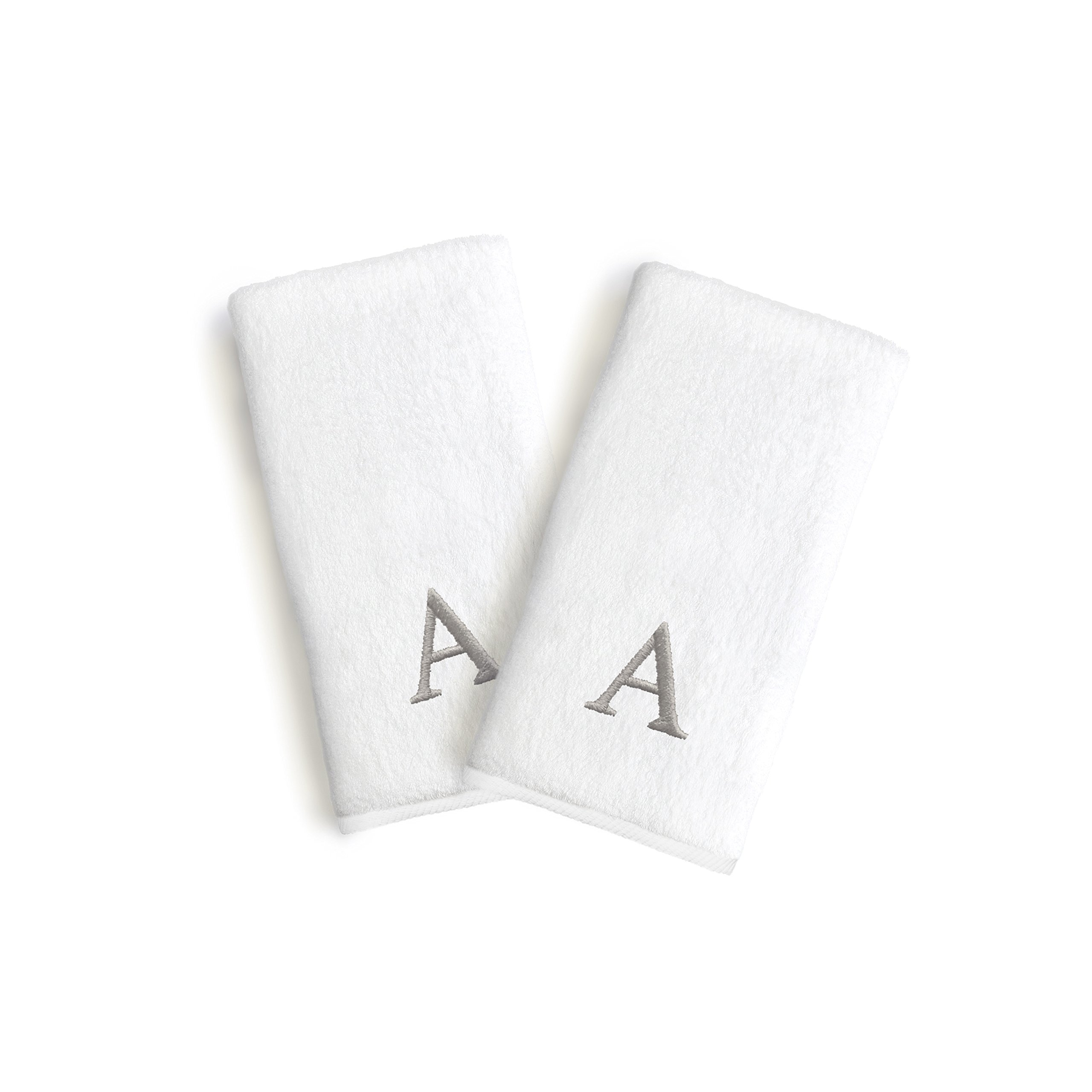 Authentic Hotel and Spa 2-piece White Turkish Cotton Hand Towels with Grey Block Monogrammed Initial White/J Casual