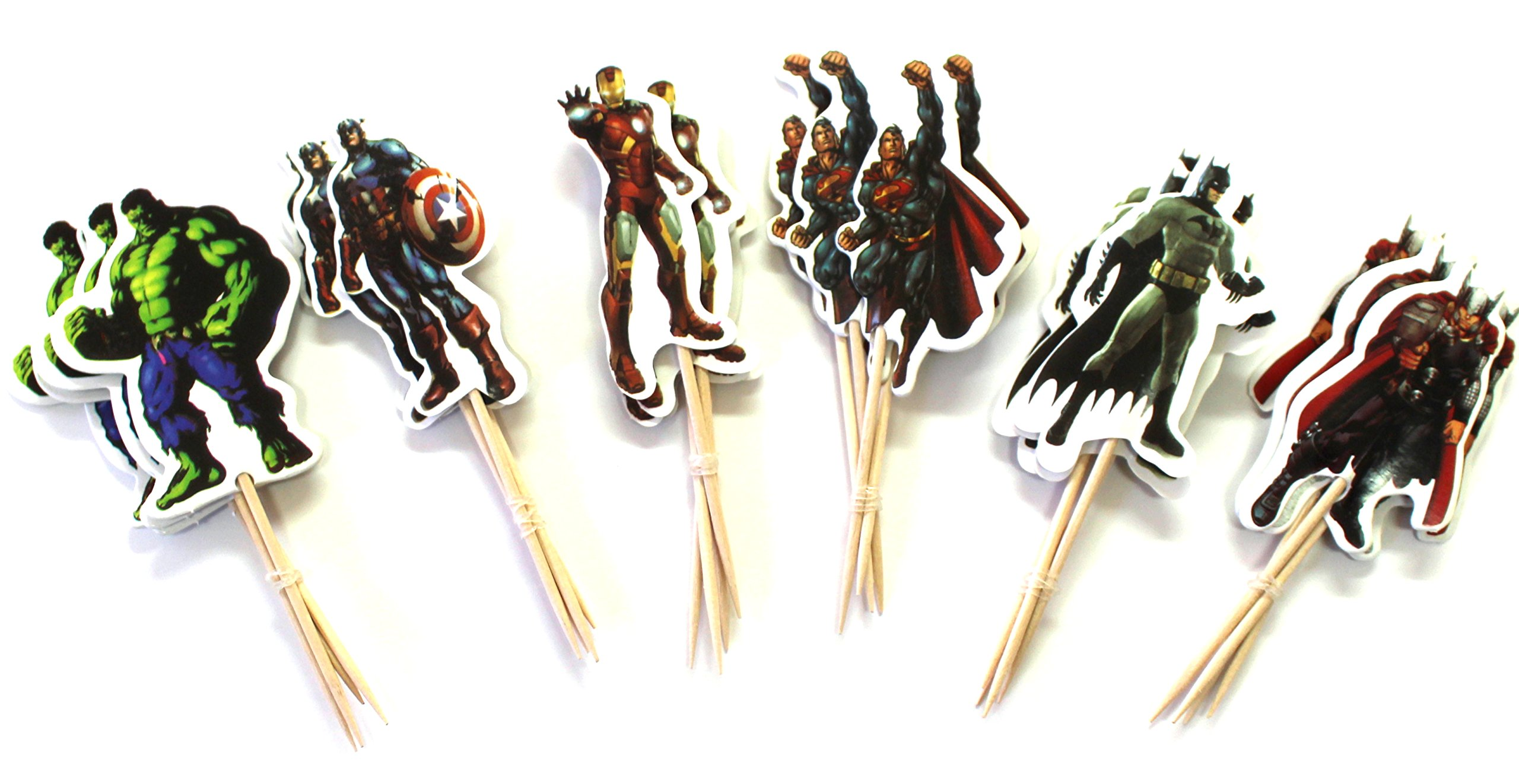 24pc - Avengers Theme Party Cupcake Toppers for Children or Adult Birthday Party Decoration