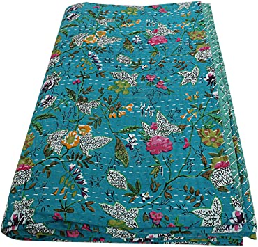 Red Queen Size Bed Throw Indian kantha Pradise Print Bedding Cover Kantha Quilt