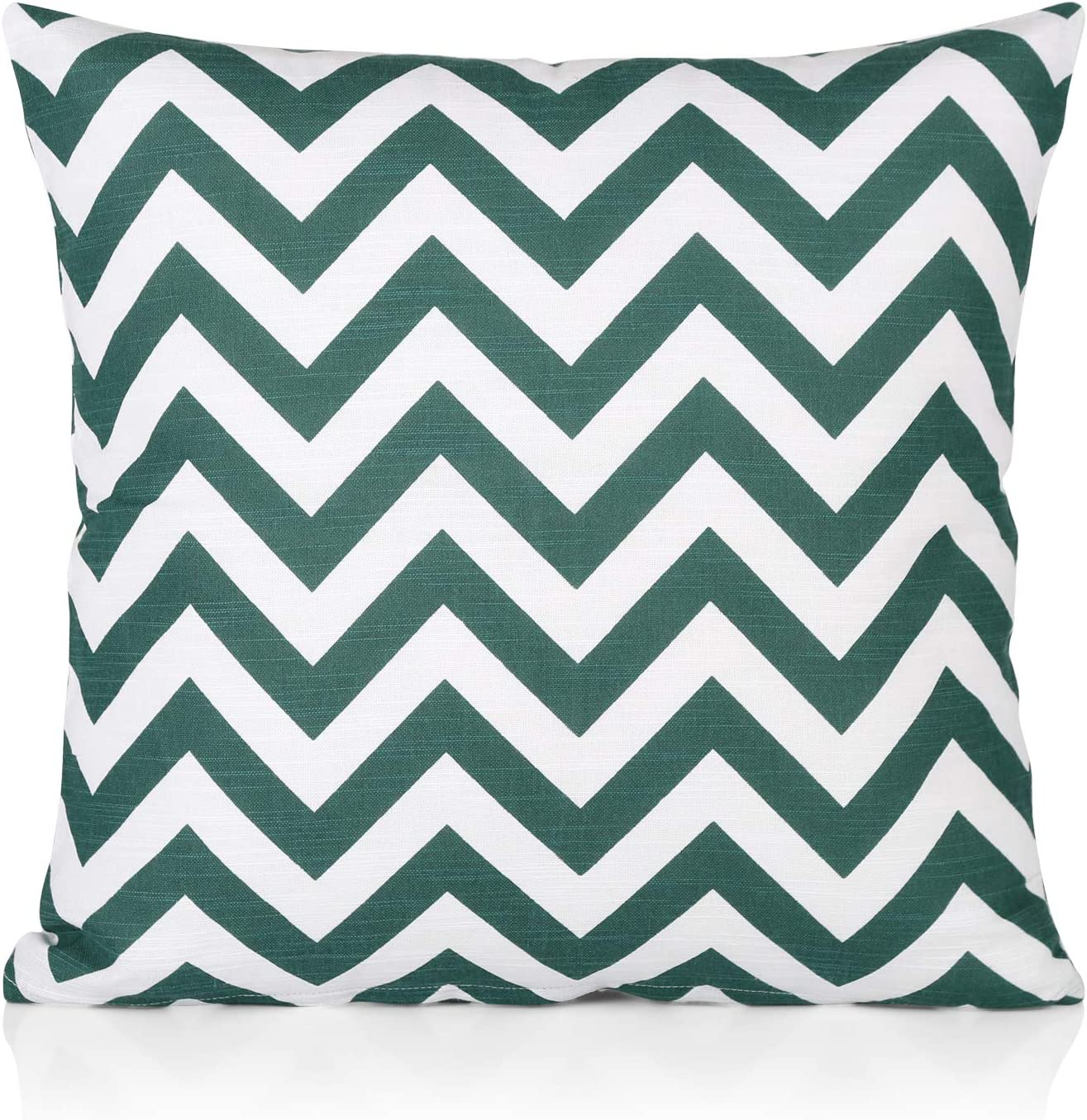 """45x45 Cm Set of 4, Forest Green//White Pattern Penguin Home 100/% Cotton Decorative Double Sided Square Cushion Covers with Invisible Zipper 45cm x 45cm x 18/"""""""