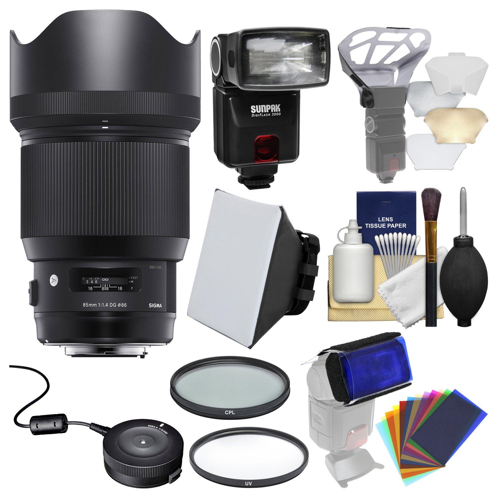 Sigma 85mm f/1.4 ART DG HSM Lens with USB Dock + Flash + 2 (UV/CPL) Filters + Soft Box + Diffuser Bouncer + Kit for Nikon Digital SLR Cameras