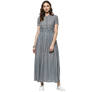 Indian Virasat Indigo line printed Cotton Kurta Fashion at amazon