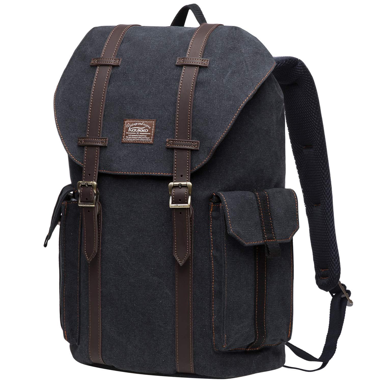 df9acf32b Amazon.com: KAUKKO Multipurpose Canvas Backpack Daypack Hiking Travel  Shoulder Bag Backpacks (48-2-BLACK): Clothing