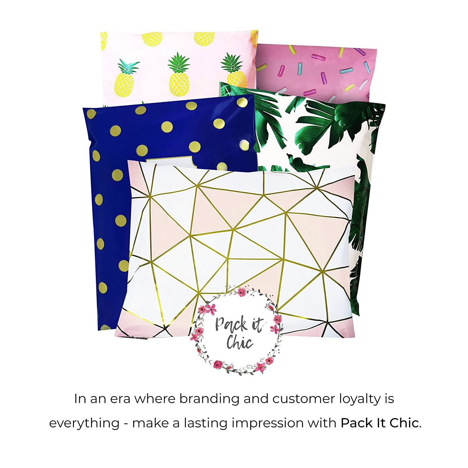 Pack It Chic - 10 X 13 (100 Pack) Tropical Leaves Poly Mailer Envelope Plastic Custom Mailing & Shipping Bags - Self Seal (More Designs Available) ATZ Premium Brands