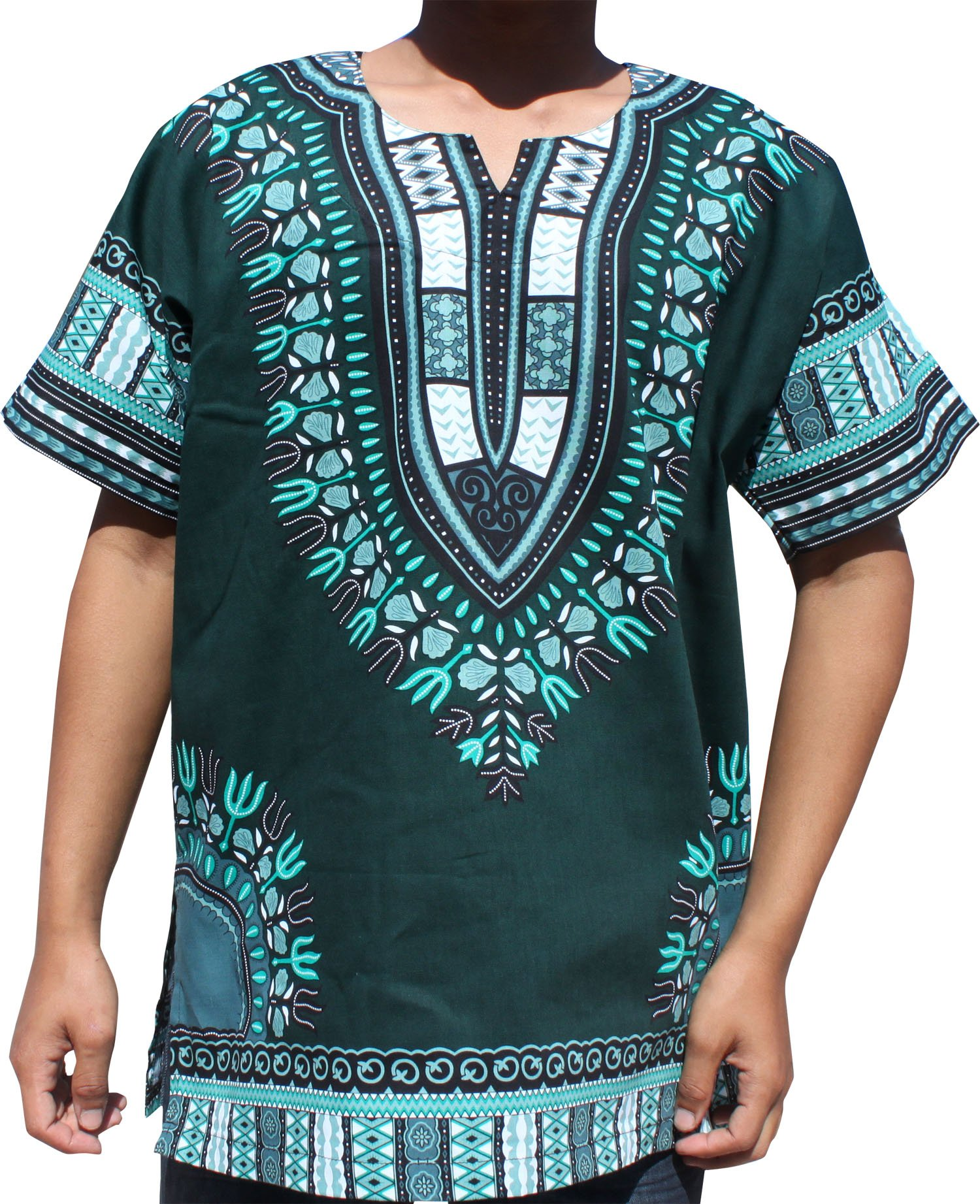 RaanPahMuang Brand Unisex Bright Colour Cotton Africa Dashiki Shirt Plain Front, Large, Phthalo Green