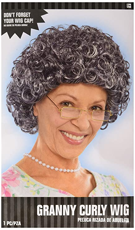 AMSCAN Curly Grandma Wig Halloween Costume Accessories, Gray and Brown, One Size