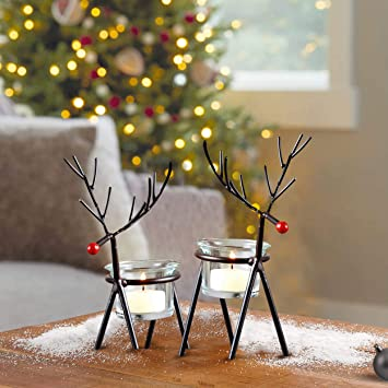Buy Tied Ribbons Reindeer Tealight Candle Holders Home Christmas Decoration Items For Living Room Bedroom Dining Room Tealight Candle Holders For Home Decor Pack Of 2 Online At Low Prices In India