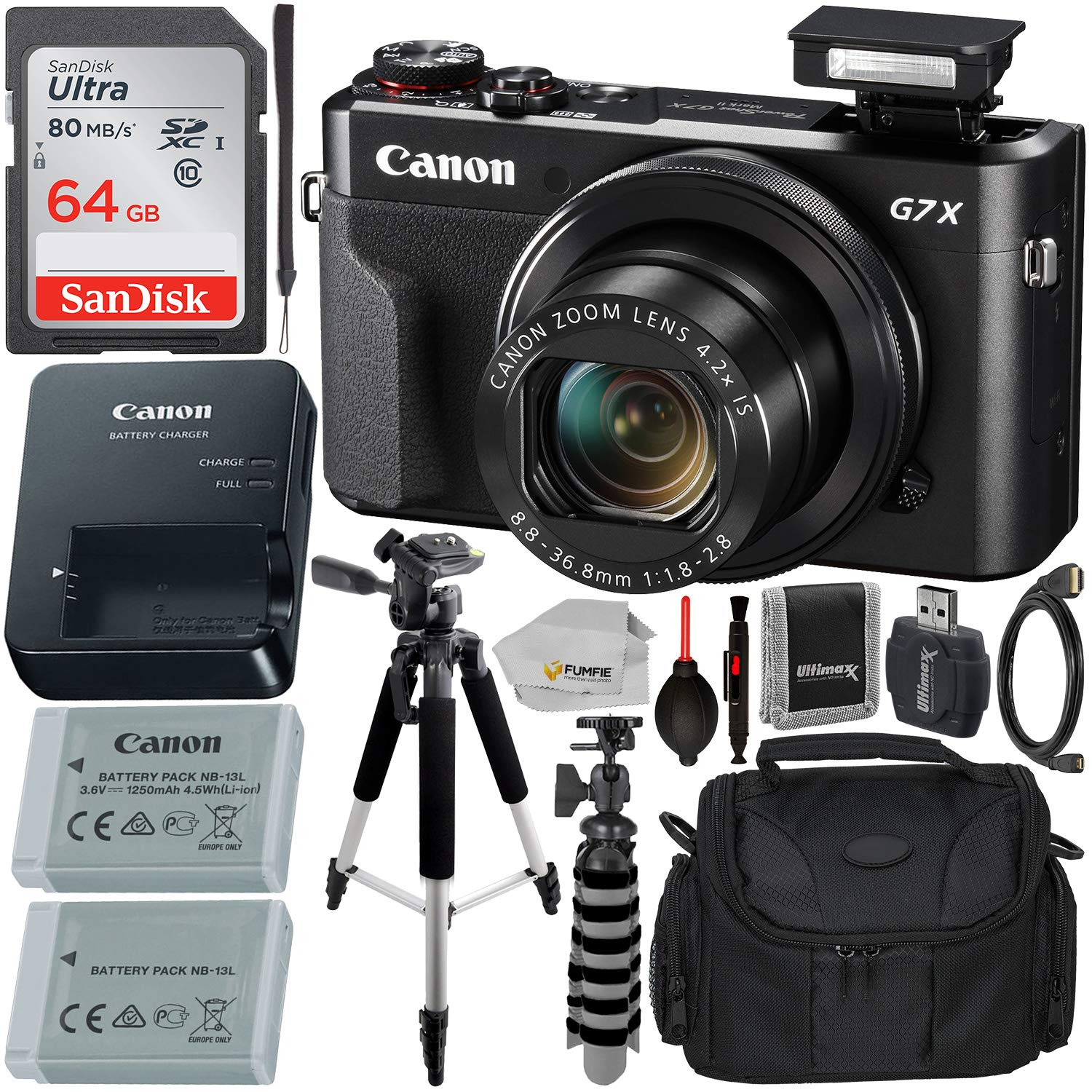 Canon PowerShot G7 X Mark II Digital Camera (Black) with Essential Accessory Bundle - Includes: SanDisk Ultra 64GB SDXC Memory Card, 1x Replacement Battery, 57'' Tripod, Carrying Case & More by Fumfie