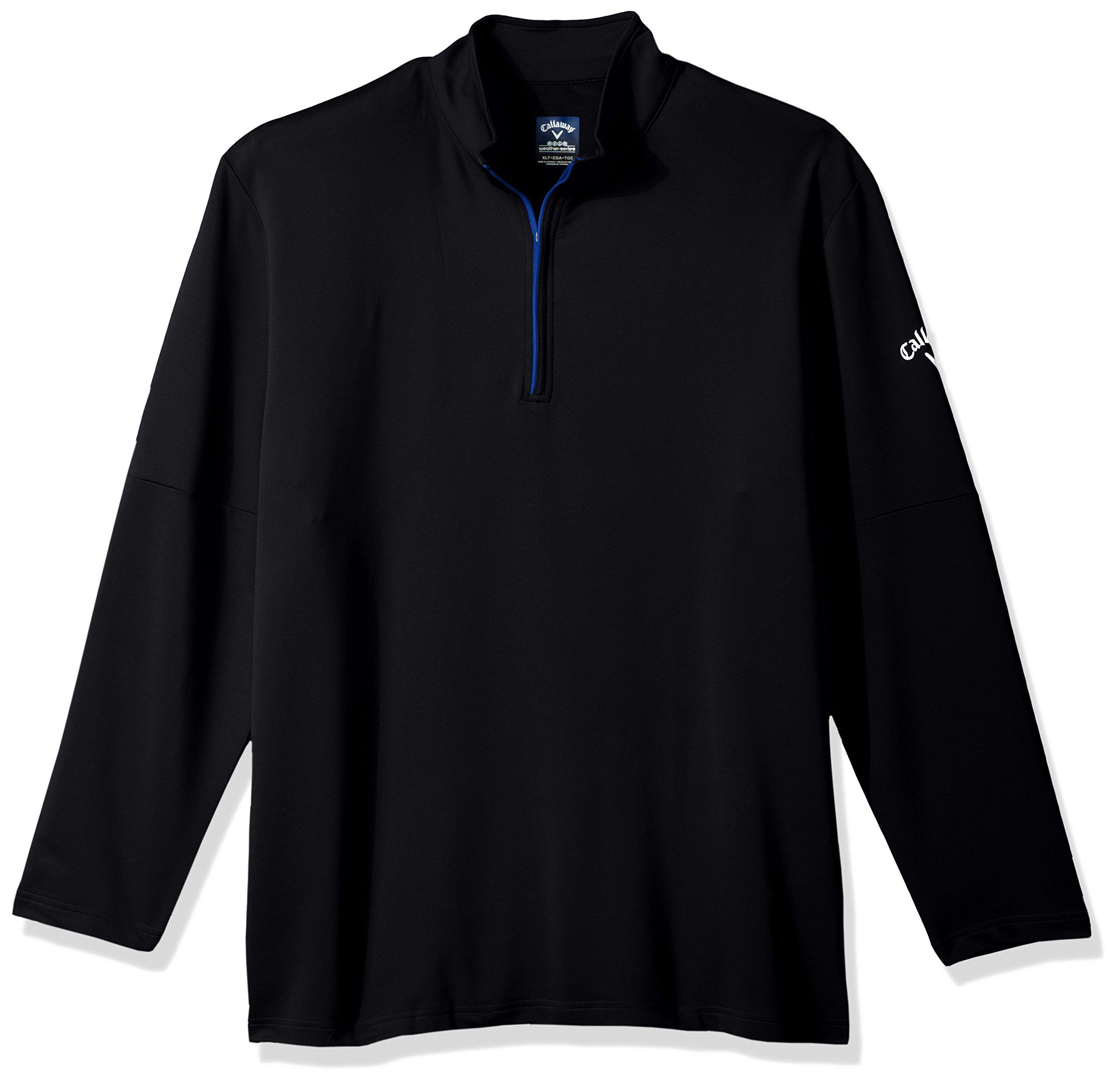 Callaway Men's Big & Tall Opti-Temp Long Sleeve Outlast Premium 1/4 Zip Midlayer Jacket, 5X, Caviar
