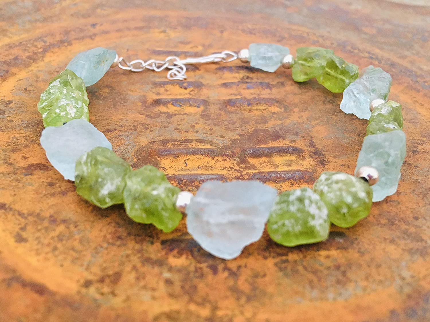 August Birthday jewelry Gift Anniversary Bracelet Gift for Wife Rough  Peridot Turquoise Raw Stone Boho Bracelet Raw Peridot Jewelry