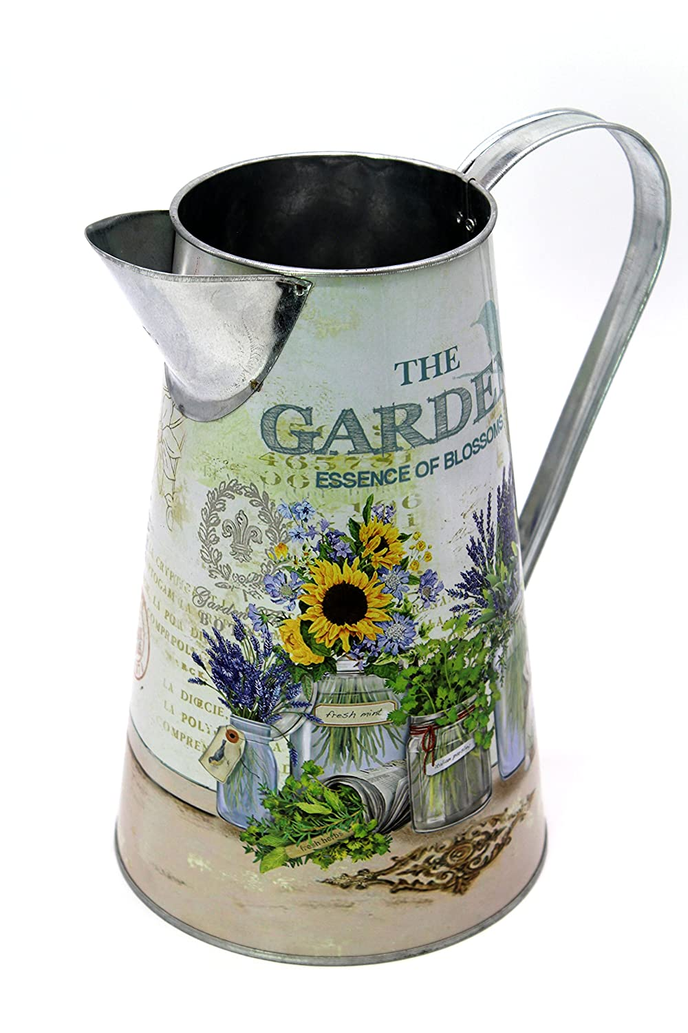 Rustic Gallary Galvanized Watering Can (Pink Flowers Pattern) R&D