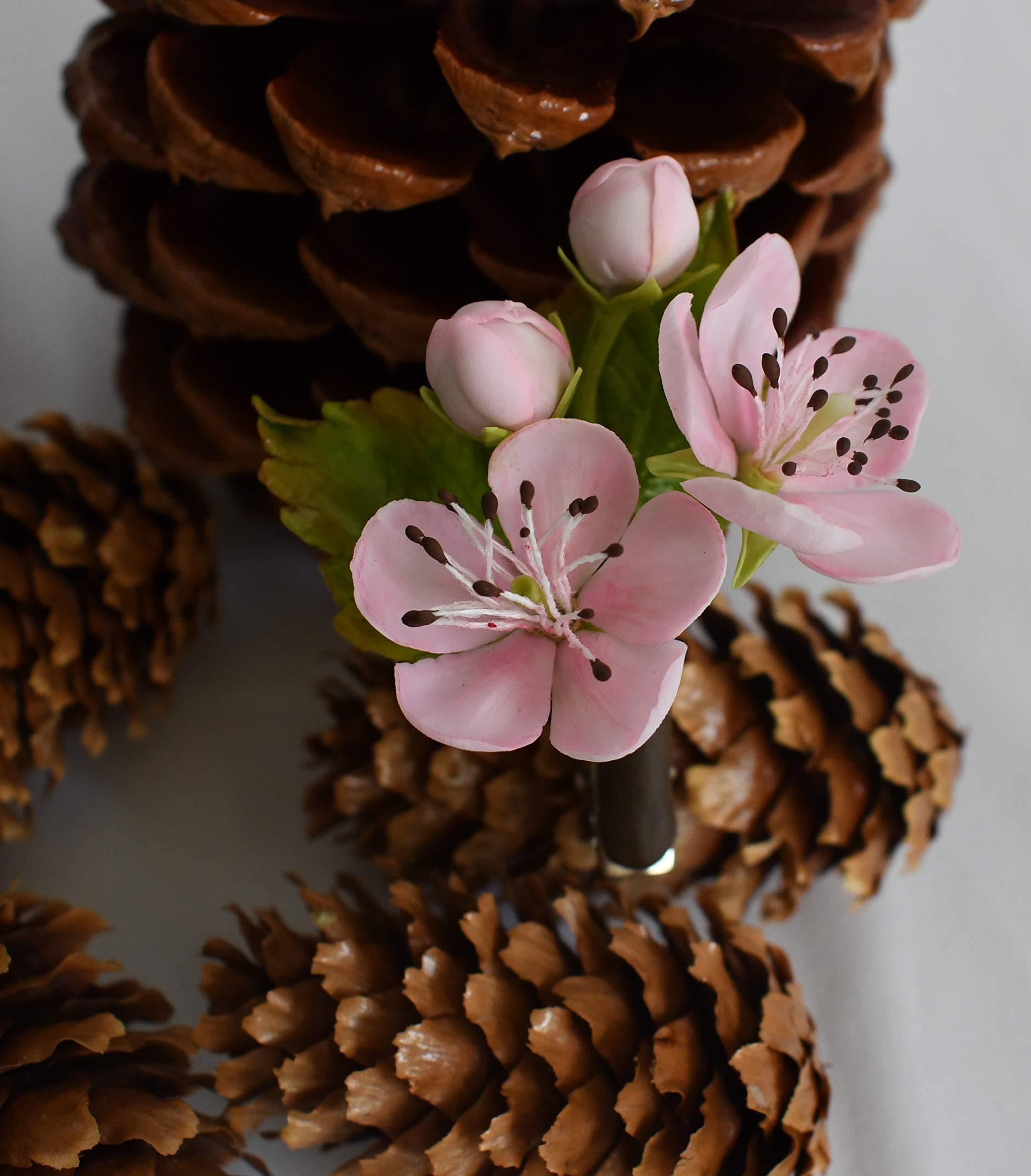Handmade Sakura Hair Pin | Air Dry Clay | Size 5 cm X 6 cm | 0.2 oz
