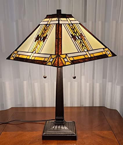 Amora Lighting Tiffany Style Table Lamp Banker Mission 23″ Tall Stained Glass White Tan Brown Yellow Antique Vintage Tribal Light Decor Bedside Living Room Bedroom Handmade Gift AM099TL14B Nightstand
