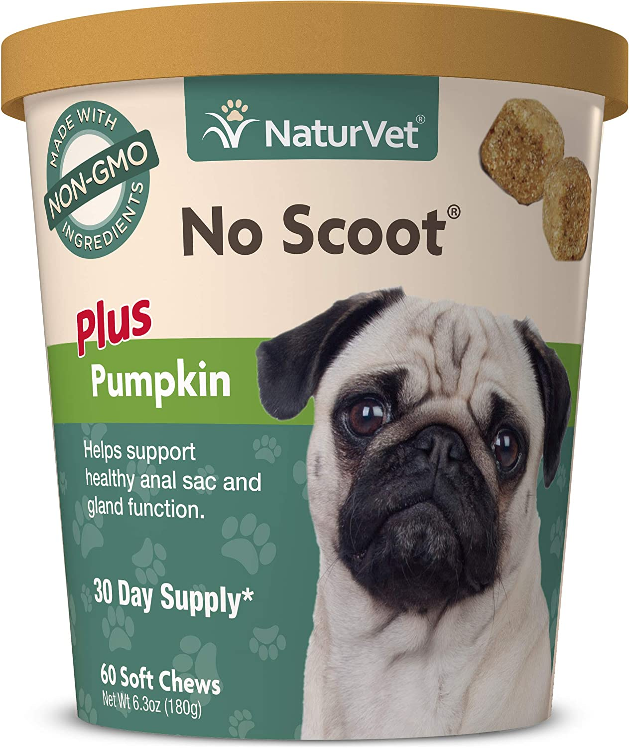 NaturVet - No Scoot for Dogs - Plus Pumpkin - Supports Healthy Anal Gland & Bowel Function - Enhanced with Beet Pulp & Psyllium Husk