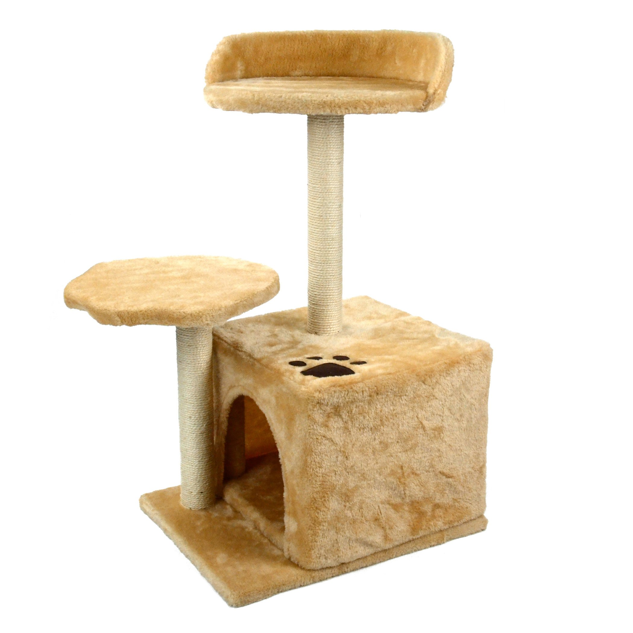 Whoobee 2 Levels Cat Tree Condo Kitty Play House Scratching Posts Tower Furniture Pet Play House Bed Deluxe Playground 2 Tiers Toys.(Beige)
