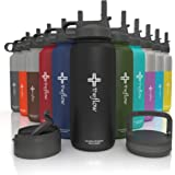 the flow Stainless Steel Water Bottle Double Walled/Vacuum Insulated - BPA/Toxin Free – Wide Mouth with Straw Lid, Carabiner Lid and Flip Lid, 32 oz.(1 Liter)