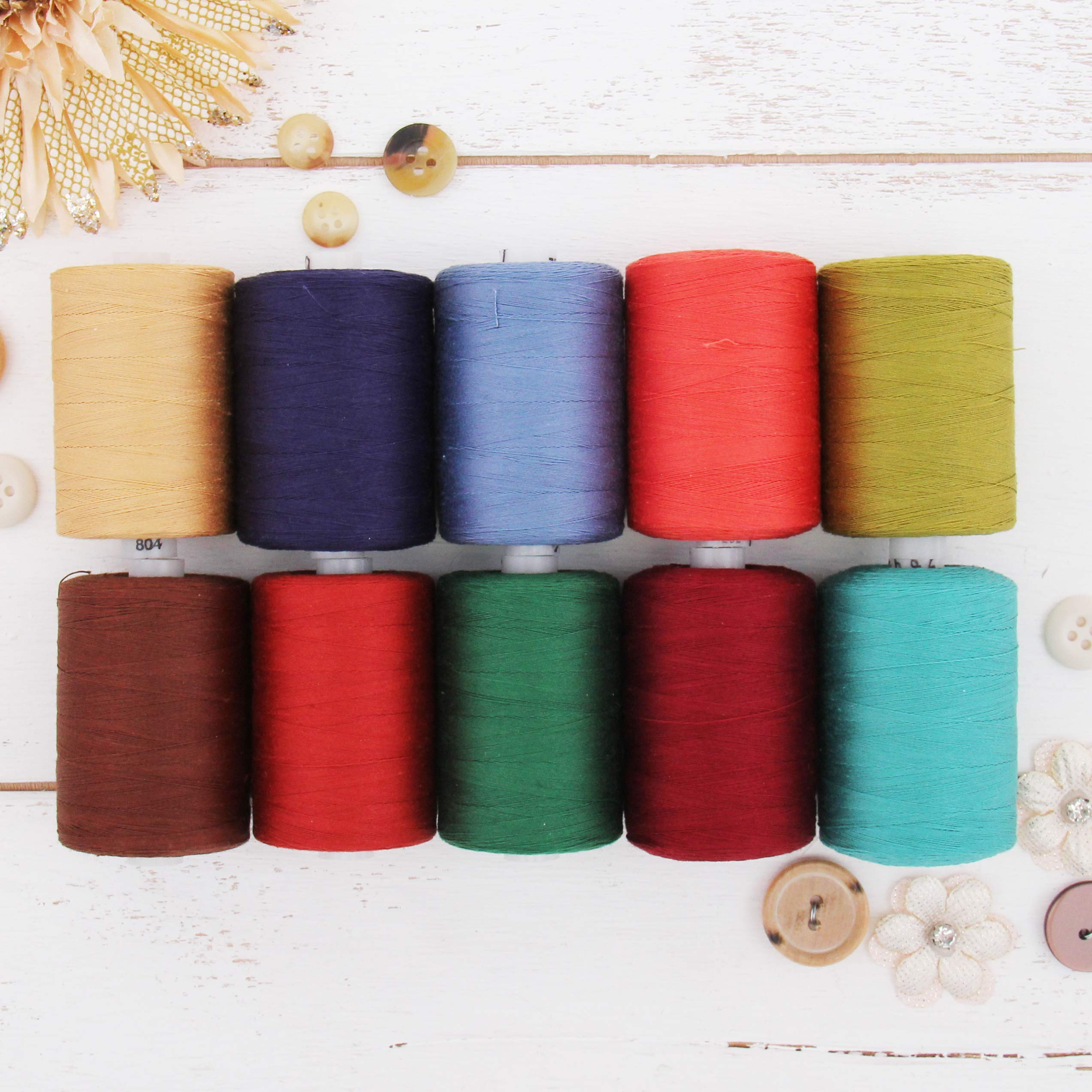 Threadart 100/% Cotton Thread Set 6 Rainbow Colors 1000M Long Staple /& Low Lint Spools 1100 Yards Over 20 Other Sets Available For Quilting /& Sewing 50//3 Weight