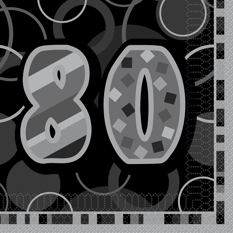 Unique Party 28467 Tovaglioli di Carta 80° Compleanno, Confezione da 16, Blu Brillante
