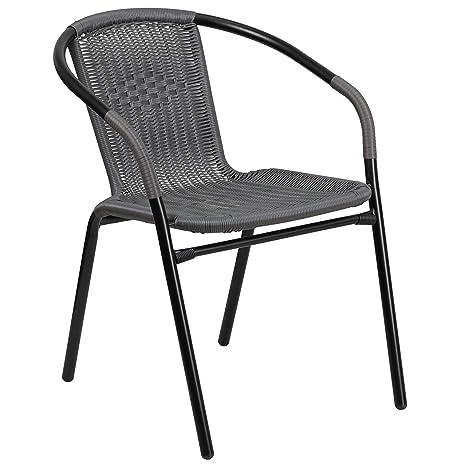 Flash Furniture Gray Rattan Indoor Outdoor Restaurant Stack Chair