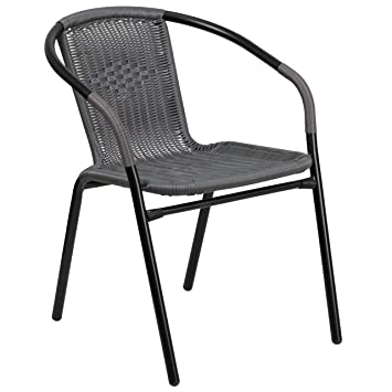 Flash Furniture Gray Rattan Indoor Outdoor Restaurant Stack Chair