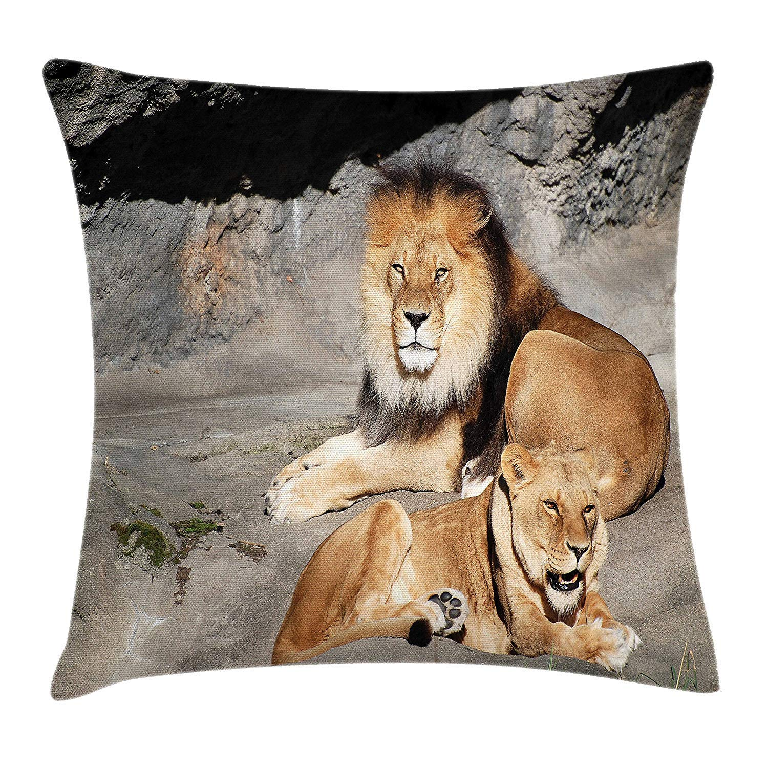 Zoo Throw Pillow Cushion Cover, Male and Female Lions ...