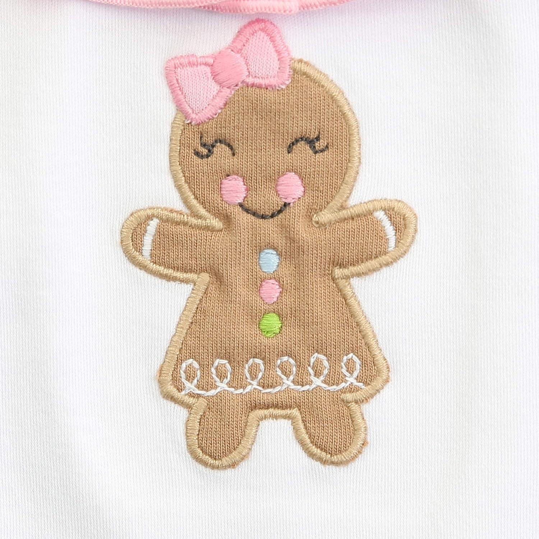 Magnolia Baby Baby Girl Gingerbread Applique Long Pajamas Pink
