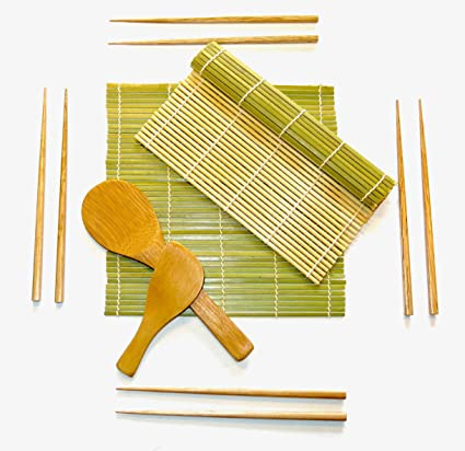Sushi Kit Gift Set Includes 2 Rolling Mats 4 Pair Chopsticks Rice Paddle Rice Spreader 100 Bamboo For Chef And Beginners