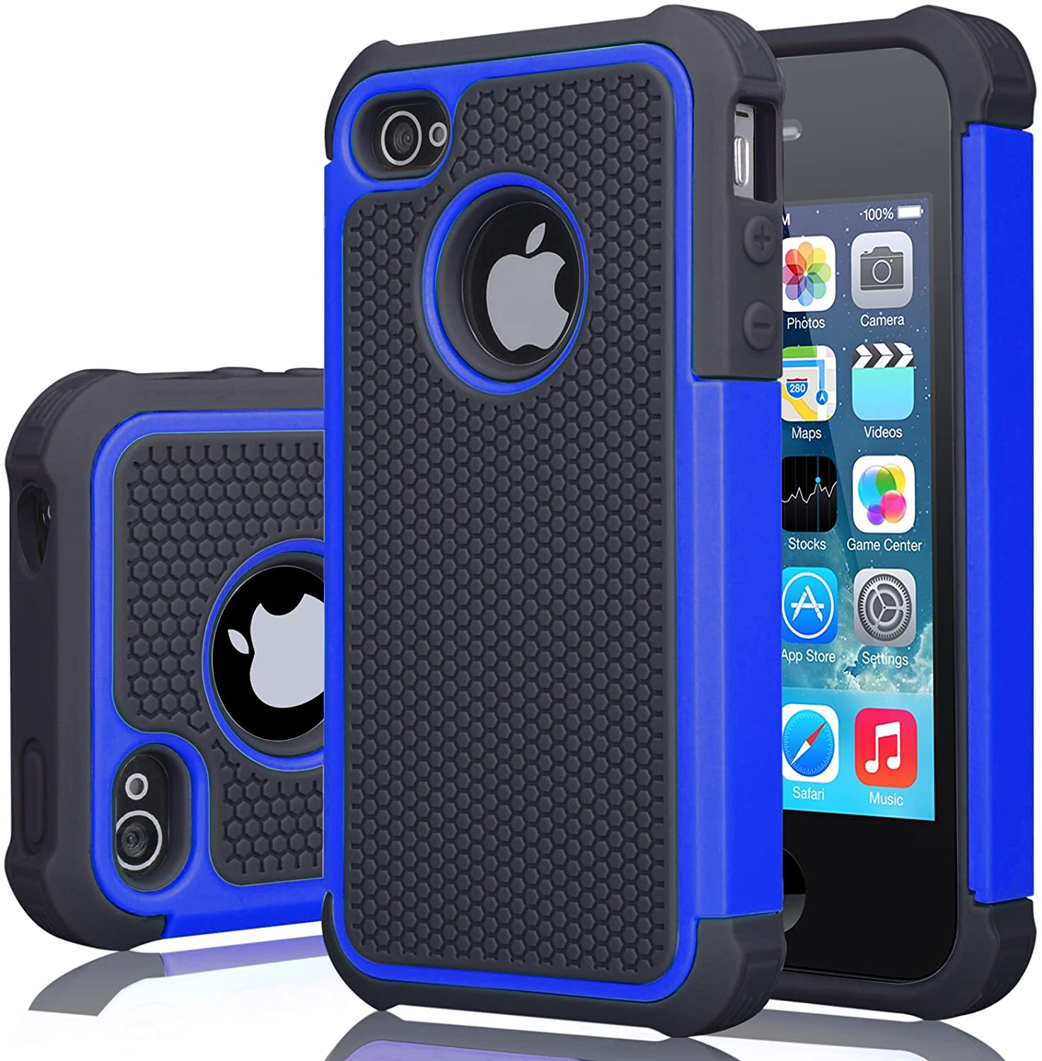 iPhone 4S Case, iPhone 4 Cover, Jeylly Shock Absorbing Hard Plastic Outer + Rubber Silicone Inner Scratch Defender Bumper Rugged Hard Case Cover for Apple iPhone 4/4S - Blue