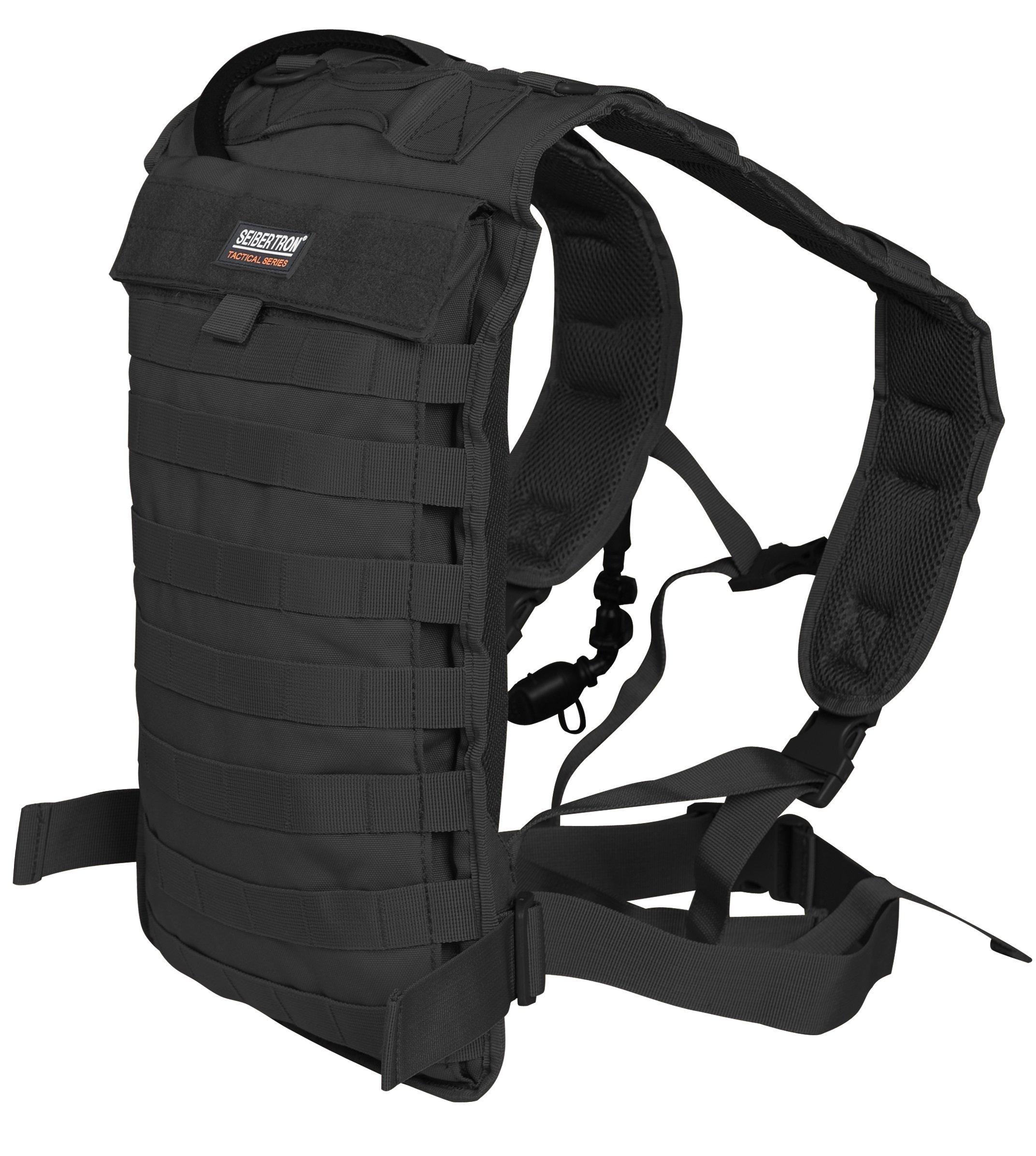 Seibertron Tactical Molle Hydration Carrier Pack Backpack Great for Outdoor Sports of Running Hiking Camping Cycling Motorcycle Fit for Seibertron 2L or 2.5L water bladder(not included) Black
