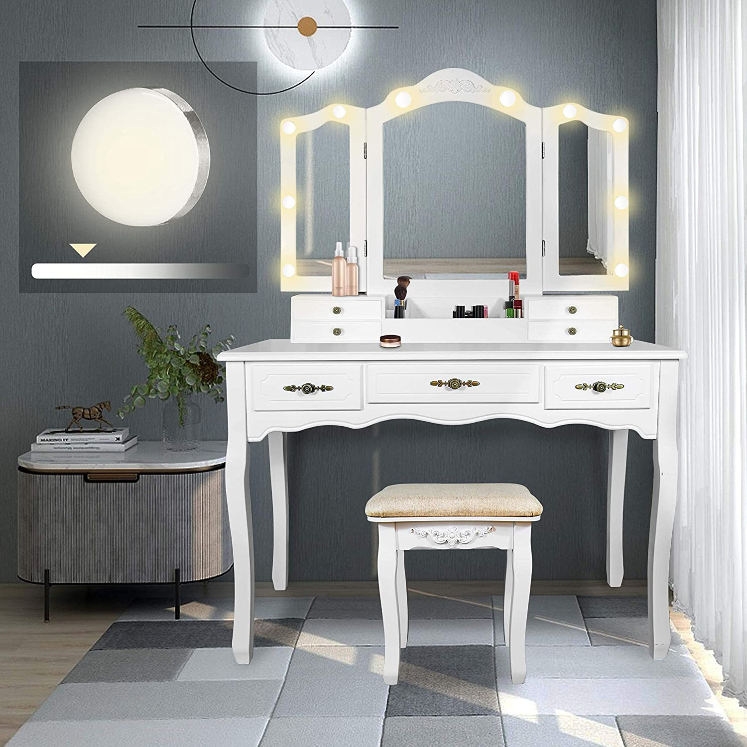 ENSTVER Vanity Set with 10 Hollywood LED Light Bulbs,Makeup Table with Stool and Mirror,6 Organization 7 Drawers,Dressing Table for Bedroom,Pure White